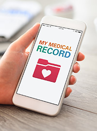 "Phone in Hand Displaying ""My Medical Record"""