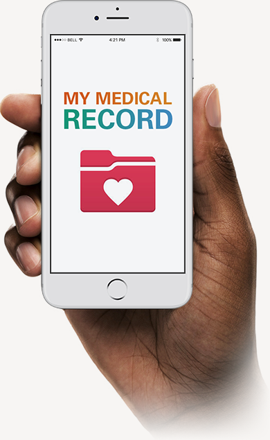 "Smartphone in Hand Displaying ""My Medical Record"""