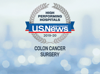 U.S. News & World Report High Performing Hospital Award Colon Cancer 2019-2020
