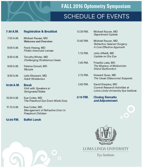 2016 Fall Optometry Symposium - Schedule of Events