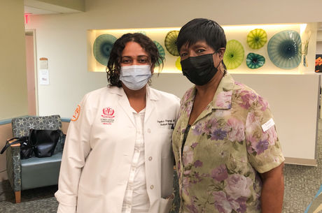 From left: Dr. Gayathri Nagaraj and Katie Smith with masks on
