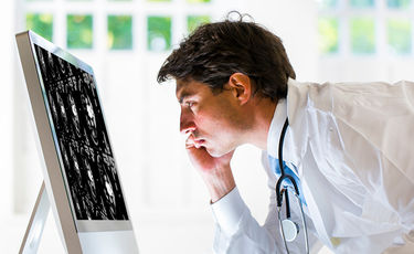 male doctor looking at cat scan