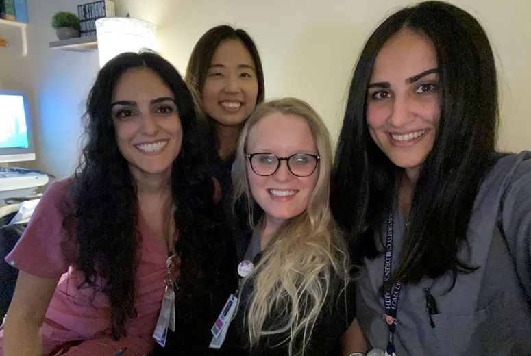 Gyn-Oncology Resident Team Taking a Break From Patient Care in the Call Room