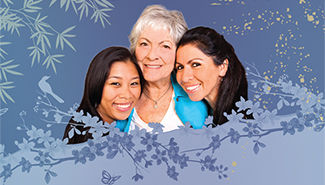 3 women with blue background