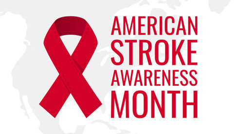 American Stroke Awareness Month with red Ribbon