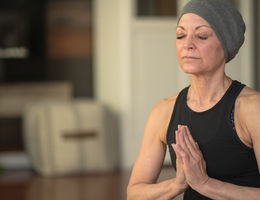 Woman with cancer practicing mindfulness coping techniques