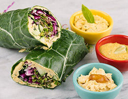 All Veggie Wrap + Hummus 3 Ways