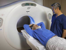 patient in a CT lung cancer screening