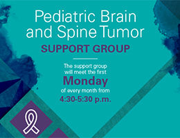 Pediatric Brain and Spine Tumor Support Group flyer