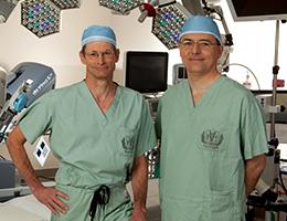 two Loma Linda University Health physicians wearing scrubs